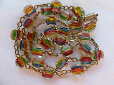 Antique Art Deco Venetian Rainbow Iris Cane Glass Bead Necklace