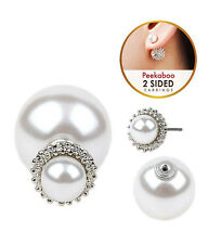 EARRINGS White Pearl Cavier Textured Double Sided Front Back Pierced Earrings