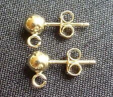 Gold Filled 4mm Ball on Post Earrings with Open Ring Earring Findings Supplies