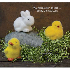 Set of 3 -:¦:-  Flocked Resin Duck / Chick / Bunny -:¦:- .Easter