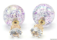 NEW DOUBLE PEARL PURPLE GLITTER SPARKLE BALL BEAD CRYSTAL STUD EARRINGS