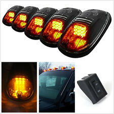 5 Pcs Smoke Lens Amber 9LED Car Van SUV Cab Roof Top Marker Lights & Switch Kit