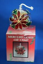 VINTAGE MERCURY GLASS POINSETTIA OIL LAMP