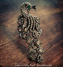 Black alloy & white crystal unique statement peacock bling cocktail ring
