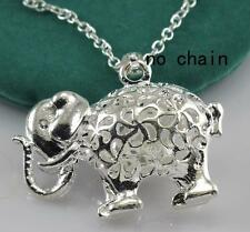 Silver 3D Hollow Elephant Ganesha Necklace Pendant Jewelry Findings