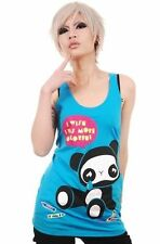 newbreed girl blue tank top crying  panda i wish i was more colorful size L