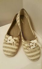 Womens Canvas Flats sz 8.5 Wide Gray White Stripe Ballet Style Shoes by Avenue