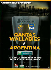 Australia v Argentina - Rugby Championship 14 Sep 2013, Perth  RUGBY PROGRAMME