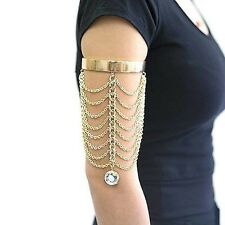 New Women Fashion Trendy Gold Crystal Drop Chain Tiered Arm Body Chain