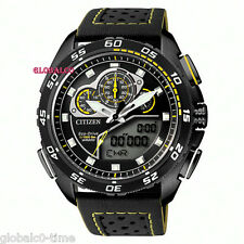 NEW CITIZEN ECO-DRIVE PROMASTER MEN'S WORLD TIME WATCH YELLOW/BLACK JW0125-00E