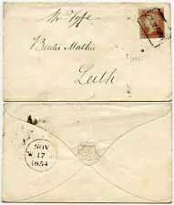 SCOTLAND 1854 ELM ROW LOCAL BOXED CANCEL on PERF 16 PENNY RED + EMBOSSED FLAP