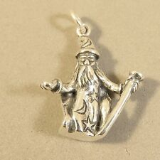 .925 Sterling Silver 3-D WIZARD CHARM NEW Pendant Sorcerer Magic Staff 925 MY34
