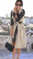 ZARA BLOGGERS CLASSIC BELTED LONG TRENCH COAT MAC BLAZER JACKET MEDIUM NEW