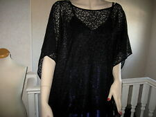 New Gothic black Lace slouch Top Poncho Cape Rock retro Lagenlook Party ONE SIZE