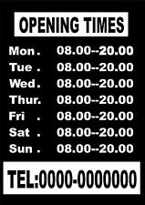 Opening Hours Times Custom Sign Shop Name Window Wall Vinyl Sticker Decal Small
