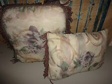 CROSCILL CHAMBORD CASSIS AMETHYST PURPLE (2) THROW  PILLOWS OBLONG & SQUARE