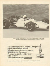 Publicité Advertising 1968  Bougies CHAMPION  la Honda de John Surtees