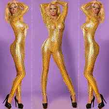 CATSUIT WETLOOK OVERALL ANZUG GOGO BODY CLUBWEAR PARTY gold Gr.S M L 36 38 40