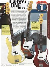Fender Highway One Series Precision & Jazz Bass Guitars ad 8 x 11 advertisement