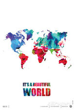 It's a Beautifull World Poster Poster Print by NaxArt, 13x19 World Map