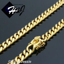 "18-40""MEN Stainless Steel 7x3mm Gold/Silver Miami Cuban Curb Link Chain Necklace"