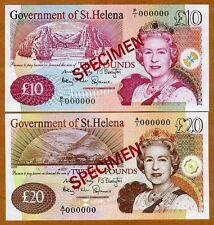 SPECIMEN SET, St. Helena 10;20 Pounds, 2012, P-12s-New 13s-New QEII, UNC