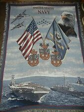 USA.NAVY.AIRCRAFT CARRIER.FLAGS.EAGLE.JETS.ANCHORS.WOVEN AFGHAN.THROW.BLANKET