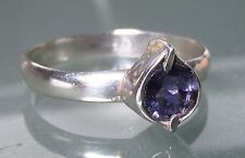 925 silver everyday cut blue iolite gem ring UK O¾/US 7.75