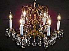 ELEGANT Antique 6 Arm 6 Lite French Brass Bronze Double Headress Chandelier