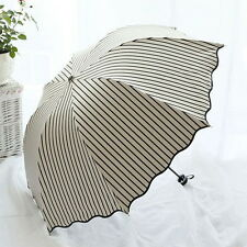 Fashion Stripe Windproof Anti UV Sun/Rain Princess Umbrella Folding Parasol  ^