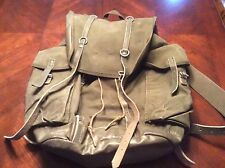 Vintage Green Canvas Leather Trim Military Backpack