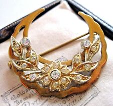 Vintage Jewellery Edwardian dated Crescent Moon Rhinestone Crystal Pin Brooch