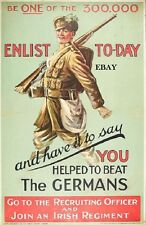 WW1 RECRUITING POSTER JOIN AN IRISH REGIMENT PRINT NEW SIZE A4 IRELAND ULSTER