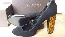 NWT Authentic Gucci Scamosciato Black Suede Bamboo Heel Pumps Size US 8.5