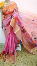 Pink Painted Manipuri kota Cotton Saree