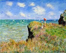 "Cliff Walk At Pourville by Claude Monet, 13""x16"", Giclee Canvas Print"