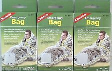 "3 PACK EMERGENCY BAG-WIND & WATER PROOF REFLECTS HEAT TO BODY AND HEAD 36""X 84"""