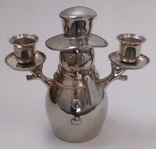 Crate & Barrel Snowman Heavy Silver Candlestick Candle Holder Holiday Christmas