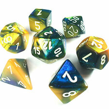 Chessex Dice Poly - Gemini Masquerade Yellow - Set of 7 - 26460 - Free Bag! DnD