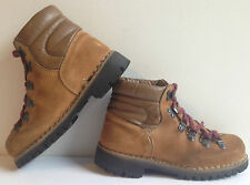 Vintage Hiking Mountaineering Boots Brown Suede Rookies Alpine Made In Italy, 6M