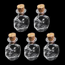10X Mini Fancy Empty Glass Bottle Wishing Jars Vials Love Note Cubic Shape NEW