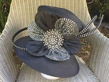 Black Rhinestone Church Easter Derby Formal Women's Hat -- Whittall & Shon