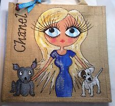 Personalised Handpainted Jute Celebrity Handbag With Jack Russell & Staffie