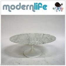 "mid century modrn danish  42"" saarinen tulip style oval marble coffee table"