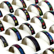 Wholesale Jewelry 10pcs Stainless steel Change color mood rings FREE SHIPPING