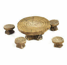 Fiddlehead Fairy Garden - FAIRY HOME ACCESSORIES - Log Table & 4 Stools Chairs