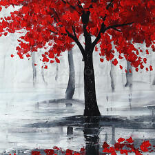 Hand Paint Oil Painting on Canvas Landscape Red Tree Black Forest Wall Art Decor