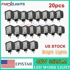 20x 48W LED Work Light SPOT Lamp Tractor Truck SUV UTV ATV OffRoad Jeep 12V 24V