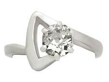 0.92 ct Diamond & 18 CT ORO BIANCO SOLITARIO ANELLO-ANTICO FRANCESE-Taglia M 1 / 2