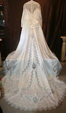 r- WEDDING GOWN SZ 20?? GORGEOUS W/TRAIN LONG WAIST SEE MEASUREMENTS USED 1X